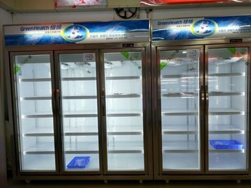 -18C Commercial Glass Door Freezer Self - Contained For Frozen Food / Upright Display Cooler