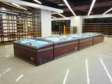 China Glass Door Combined Supermarket Island Freezer Automatic Defrost factory