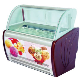 Commercial Italian Ice Cream Display Freezer  With Customized Pans OEM Light