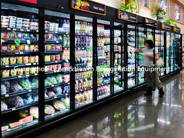 Self Service Upright Multideck Open Chiller , Glass Fronted Fridge With Curved Glass