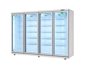 China 540W Commercial Beverage Cooler , 4 Glass Door Upright Milk Display Chiller factory