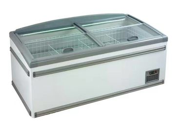 High Efficiency Static Cooling Supermarket Island Freezer For Meat Seafood