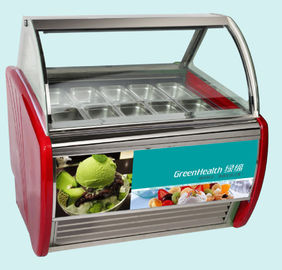 China Curved Sliding Door Ice Cream Display Freezer Red , Green , Black Color factory