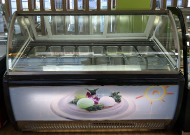 China Digital Temperature Control Ice Cream Display Freezer Front With Lamp Box factory