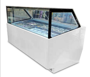 China Commercial 10 Pans Ice Cream Display Freezer With Customized Light Box factory