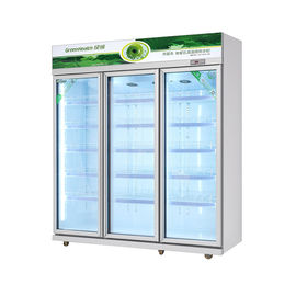 China Large Capacity Glass Door Commercial Beverage Cooler Round Interior Corners For Easy Cleaning factory
