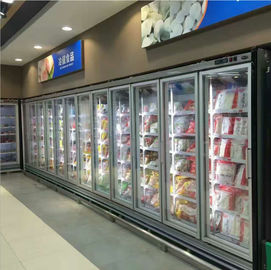 China Seafood / Meat Supermarket Glass Door Merchandiser Freezer With Fan Cooling factory