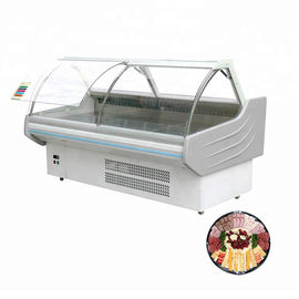 China 60hz Deli Display Refrigerator Curved Bakery Glass Meat Frozen Food Display Showcase factory