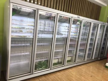 China Supermarket 6 Glasses Doors Commercial Upright Freezer For  Benverage Cooler factory