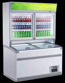 China Combine Multideck Open Chiller Frozen For Ice Cream 2 Glasses Door Up And Dowm Layer factory