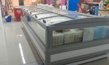 China Gray R404a Supermarket  Island Freezer Cabinet With Curve Glass Sliding Open factory