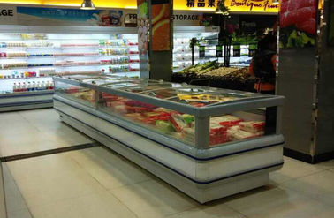 China White Single Site Supermarket  Ice Cream Display Freezer With Sliding Door factory