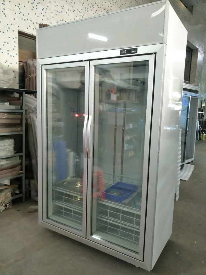 Vertical Glass Door Display Freezer With Dynamic Cooling / Refrigerated Meat Display Showcase