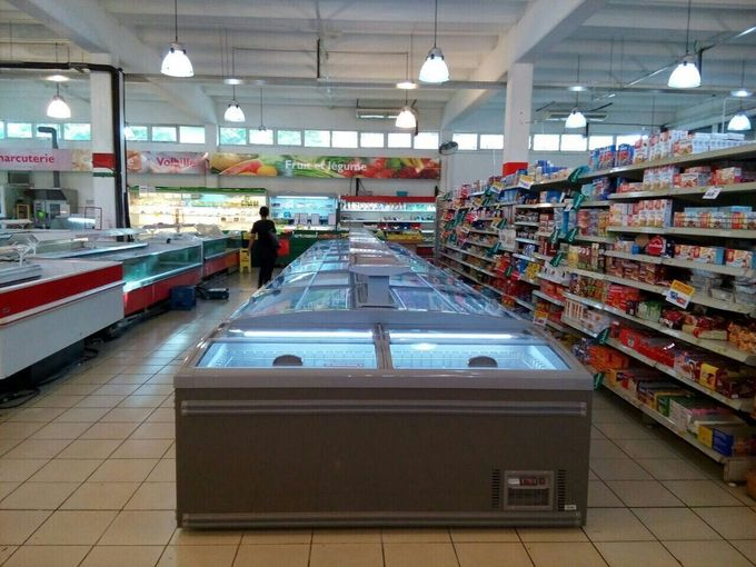 2.1m 1.8m Combined Open Top Island Display Freezer For Supermarket CE ROHS