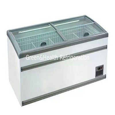 Large Supermarket Island Freezer With Sliding Door -22 ~ -18℃ Combined Direct Cooling