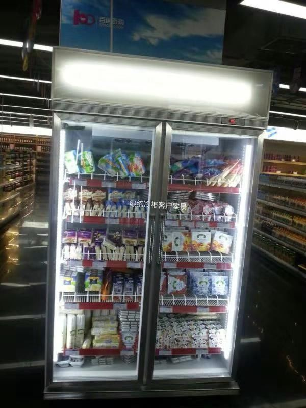 5 Layers Shelves Commercial Display Freezer With Double Glass Doors