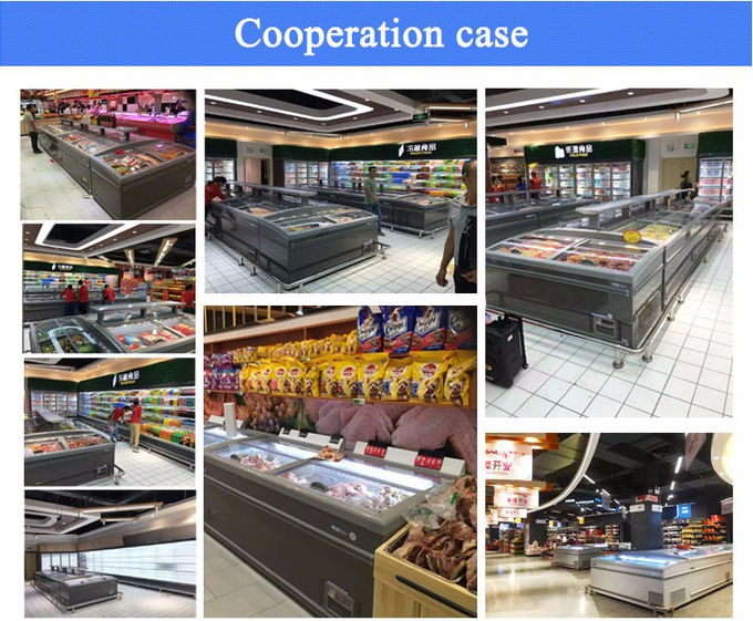 -22°C - 18°C Supermarket Seafood Display Island Freezer With Glass Door Energy - Saving
