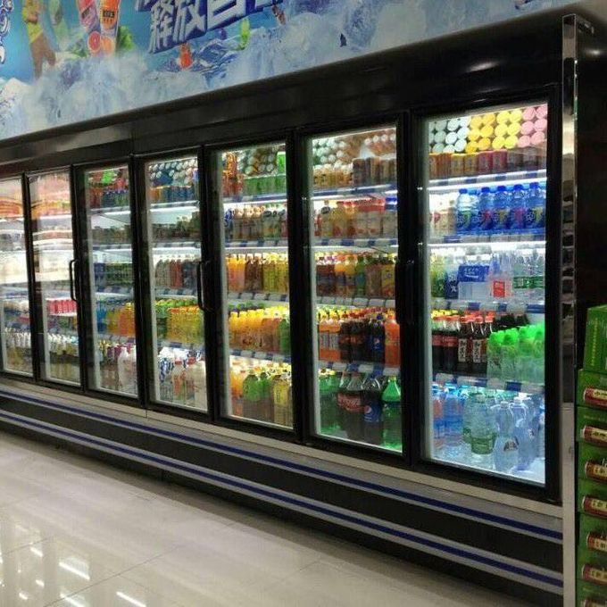 4 Layers Multideck Open Chiller With Temperd Glass Or Painted Steel Shelves