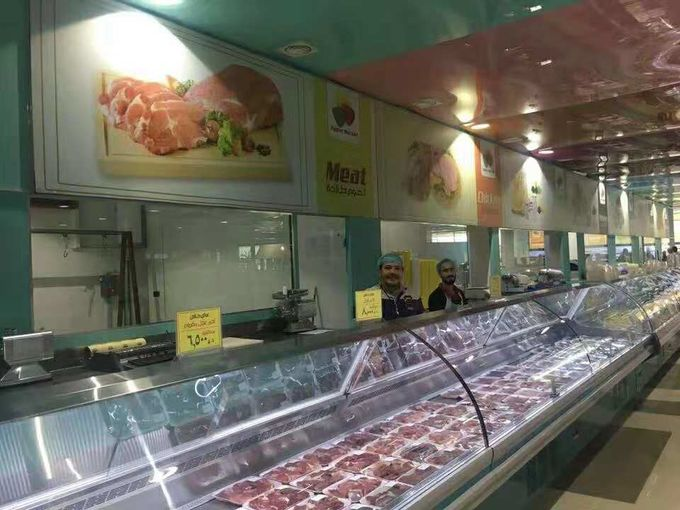 Curved Glass Deli Display Counter Refrigerator For Supermarket With Optional Rear