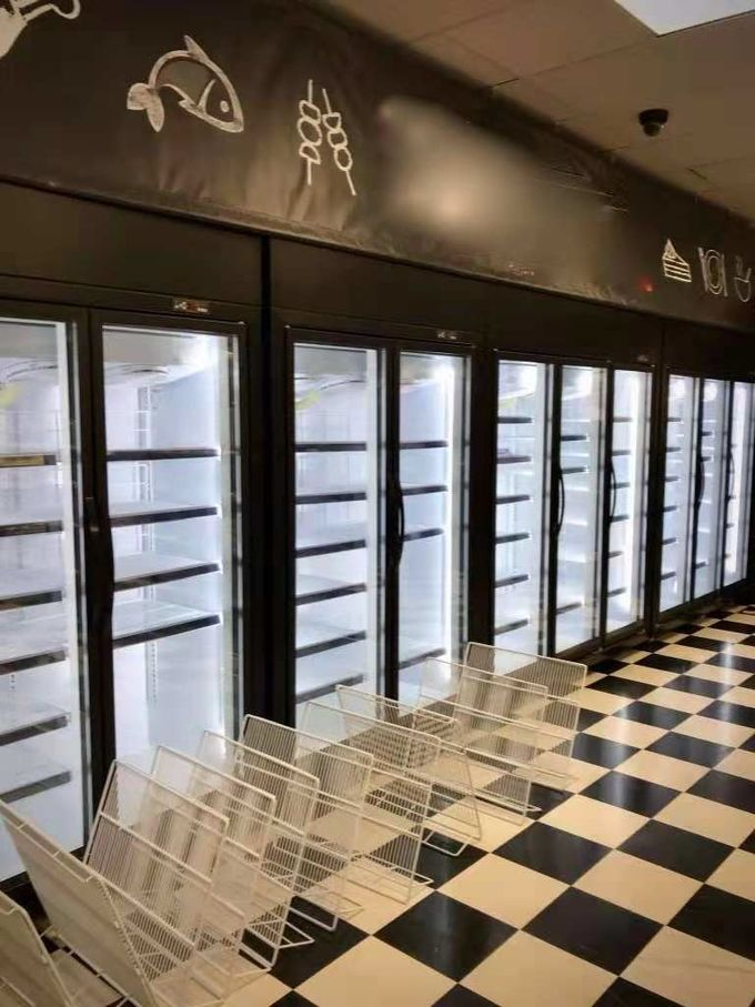 Green & Health Chain Store Glass Door Freezer For Frozen Food With Fan Cooling