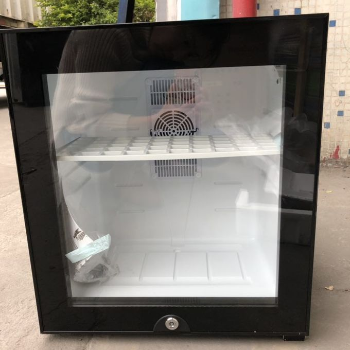 Black Or White Hotel Mini Bar Fridge With Table Top Glass Door / Adjustable Shelves