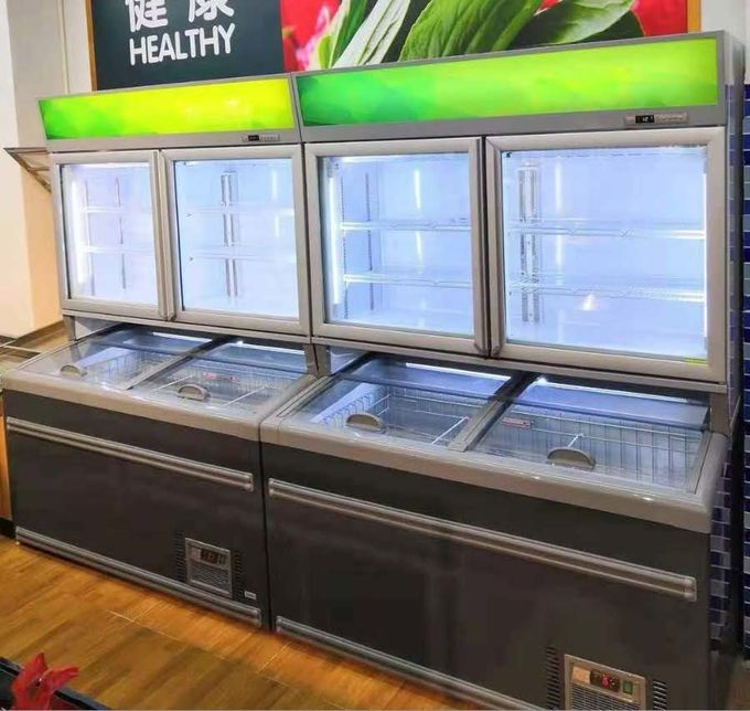 Painted Steel Combined Display Refrigerator Island Freezer With Big Capacity