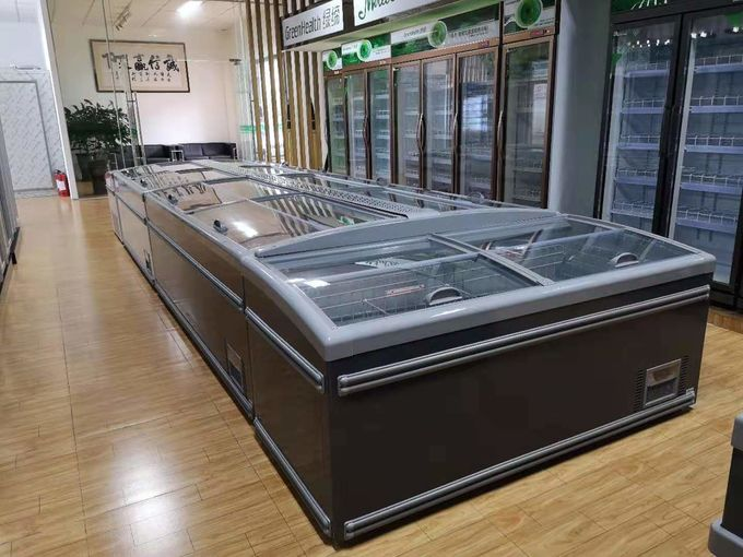 2.5m Gray Color Commercial Display Freezer With Temperature Glass 1040L Capacity