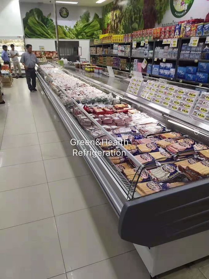 800L Horizontal Fish Meat Open Display Freezer For Butchery Shop
