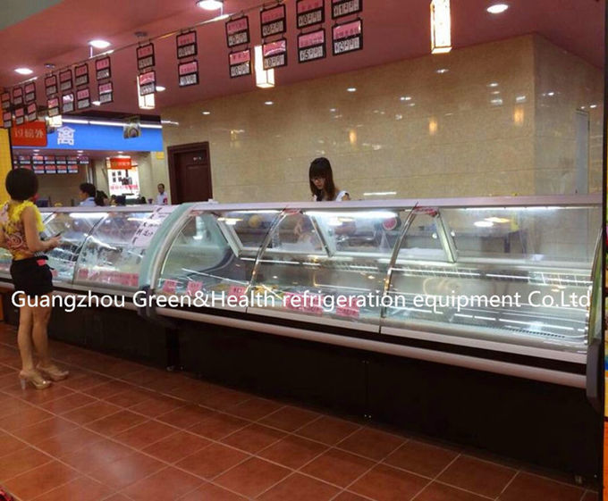 Refrigerated Fan Cooling Fresh Butcher Display Fridge With Wheels 220V
